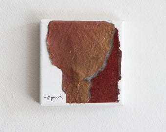 Original Small Collage, red and gold, orange metallic, Tiny Canvas Art Gift, Abstract Head
