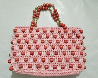 1960s Purse / 1960s Handbag / 60s Purse / 60s Handbag / Beaded Purse / Beaded Handbag / Pink Purse / Summer Purse / By Donna / John Wind