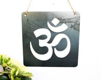 Om Yoga Sign Symbol, Metal Sign, inspirational quote, Rustic Home Decor, Meditation, Metal Art, Garden Decor, Home Sign, Yoga Design