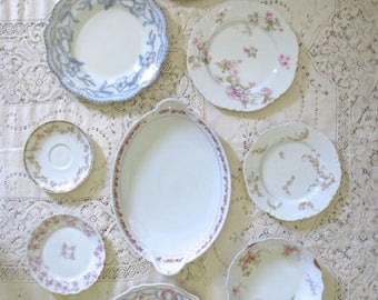Antique Plate Collage. Wall Decor, Farmhouse Plates. Vintage Dishes Set.  Shabby Chic Part 68