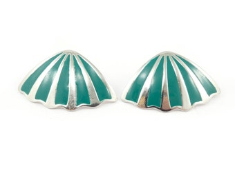 Vintage Green Enamel Earrings, Silver Tone, Posts
