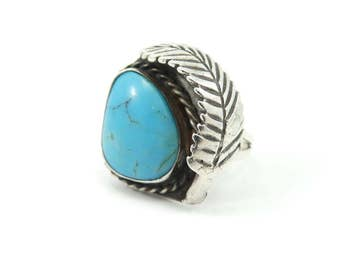 Vintage Navajo Ring, Turquoise, Feather, Silver, Size 6.5