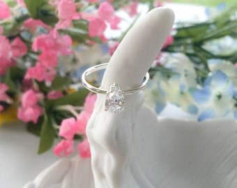 Pear Shaped CZ Ring - Sterling Silver - Stackable Ring - Statement Ring, silver ring, cz ring, stone ring, gem ring