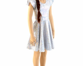 Toddlers and Girls Size Silver on White Shattered Glass Flip Sleeve Spandex Skater Dress  Sizes 2T 3T 4T and 5-12 - 154144