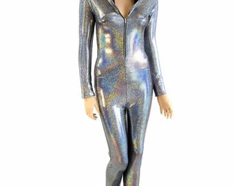 Silver Holographic Zipper Front Long Sleeve Hoodie Catsuit w/Black Zen Hood Lining Rave Festival Buring Man 154228
