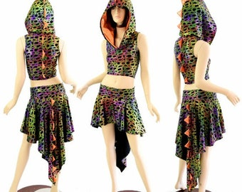 2PC Poisonous Print Zipper Front Sleeveless Crop Hoodie / Orange Sparkly Jewel Spikes & Hood Liner / Matching Dragon Tail Skirt 154440