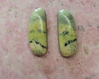 Light Green Antique Verde Freeform Oval Cabochon Pair/ backed/ Victorville, CA