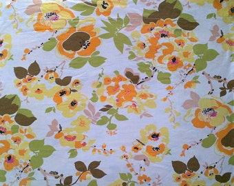Wabasso White & Yellow Orange Avocado Green Floral Print Double Full Size Flat Bed Sheet - 100% Cotton