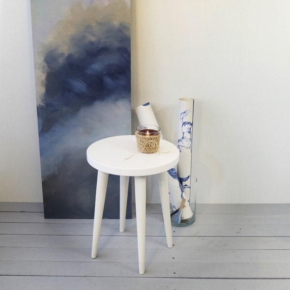 White Stool Small Coffee Table Round Table Side Table Wood