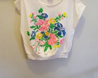 Floral 90s Shirt Top Vintage Top Tee