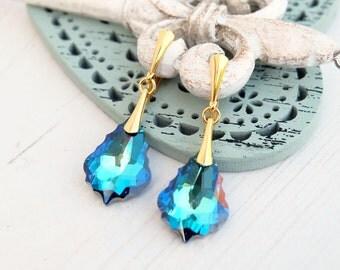 Blue Swarovski crystal baroque earrings jewellery Wedding bridal bridesmaids earrings 24k gold plated earrings Something blue Bermuda Blue
