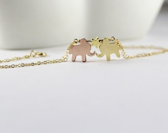 Elephants Bracelet - Star Jewelry.Gold Silver Rose Gold Elephant Jewlery, Elephant bracelet, , Lucky Elephant, Best Friends. Two elephants