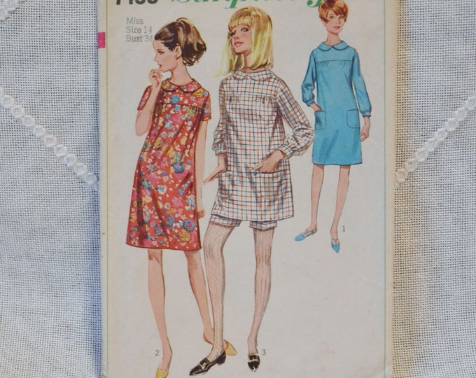 Vintage Simplicity 7163 Sewing Pattern Crafts Misses Junior Dress Shorts Size 14 DIY Sewing Crafts PanchosPorch