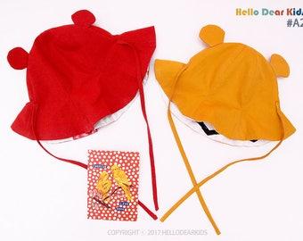 kids sewing pattern pdf/ Reversible hat sewing patter / kid's sun hat/ Baby sun hat / sizes 6M~7years