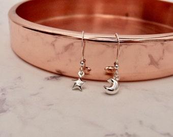 Moon star earrings, sterling silver 925, cute galaxy jewelry