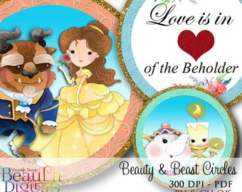 Beauty & Beast Cup Circles, Tags, Labels, Cupcake Toppers, Scrap book, Birthday Labels, Card makers, Instant download