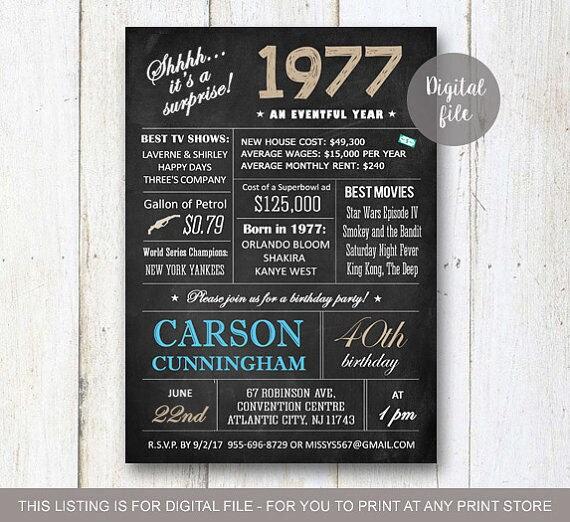 surprise 40th birthday invitations chalkboard 40th birthday, Birthday invitations