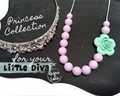 Little DIVA Necklace - Toddler Jewellery - Kids Jewelry - Silicone Beads - Teething Beads Chew Jewellery Beads for Kids - Mint Rose & Lilac