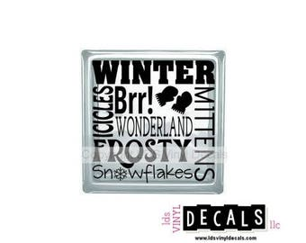 Winter Icicles Brr! WONDERLAND MITTENS FROSTY Snowflakes - Winter Vinyl Lettering for Glass Blocks - Craft Decals