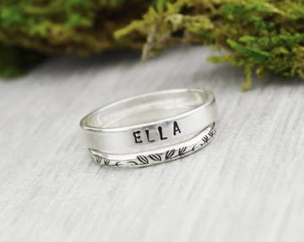 Set of Two Sterling Silver Stacking Rings • Handstamped Stack Rings • Personalized Sterling Rings