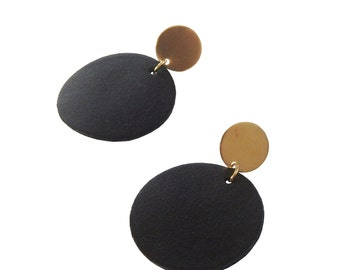 Black Leather Circled Earrings; Brass Circle Earrings; Leather Jewelry; Stud Earrings; Dangle Earrings; Leather and Brass Earrings