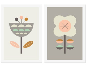 Scandinavian Flowers (Grey,Pink and Mint),Series of Two. Kids room art,Scandinavian,Girls room art,Modern kids art,Nursery art,Nursery decor