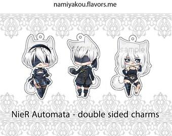 NieR Automata CHARMS, Catgirl 2B 9S A2 Catboy Chibi Acrylic Charm, Manga Chibi, Video Game Keychain, Girl Bust Keyring, Anime Phone Strap