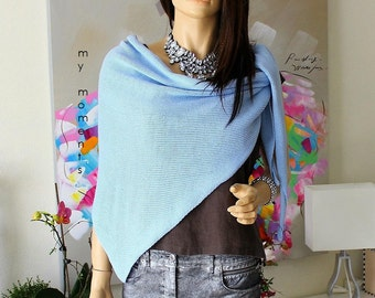 TRIANGLE SCARF, Merino, ice blue
