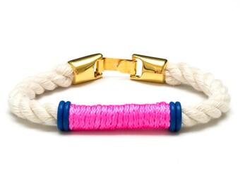 Nautical Rope Bracelet / Neon Pink Rope Bracelet / Gold Nautical Bracelet / Nautical Jewelry / Nautical Gift / Summer Jewelry