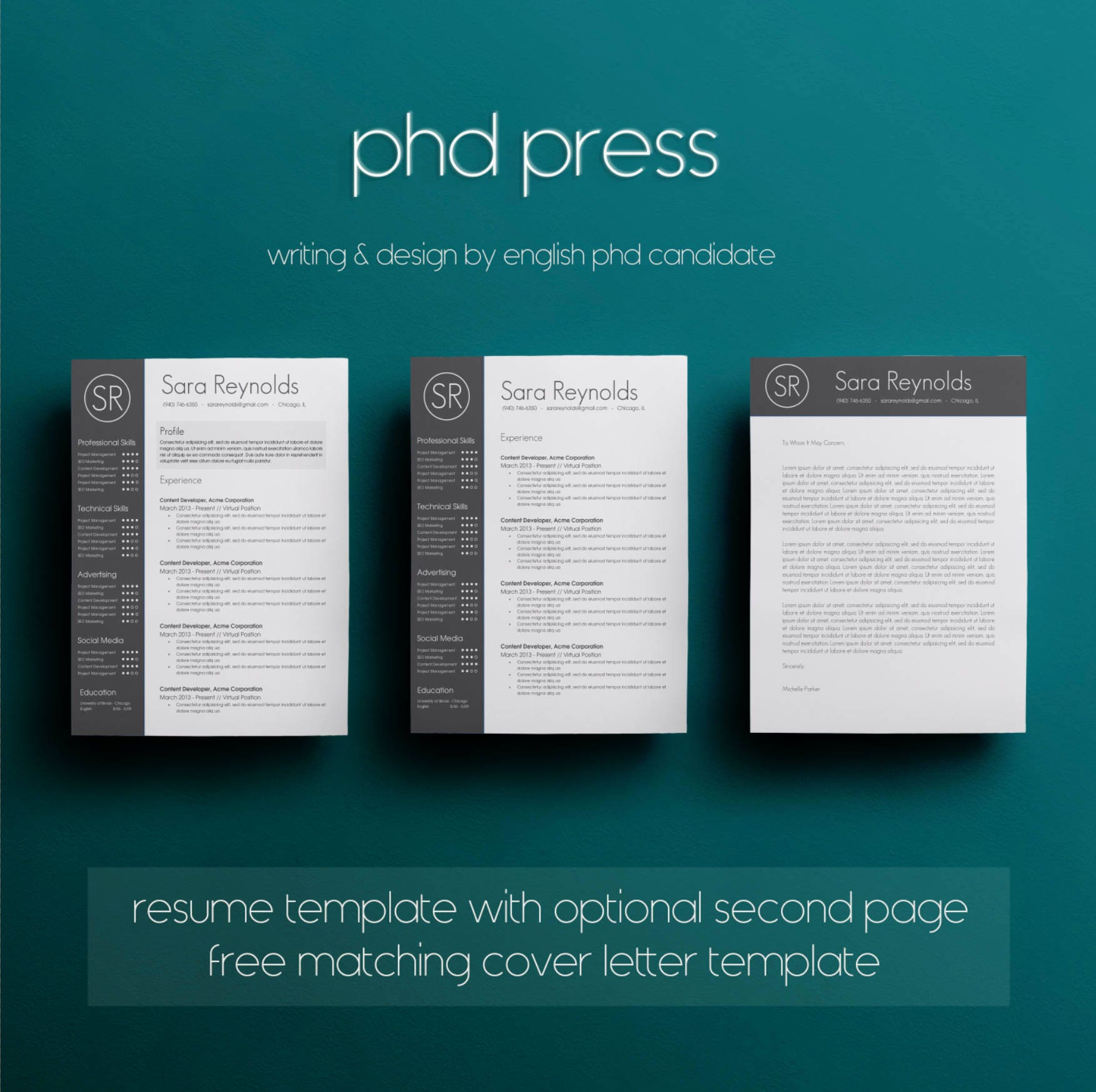 Resume Template Cover Letter Template The Sara By Phdpress: Resume Template & Cover Letter Template CV Template