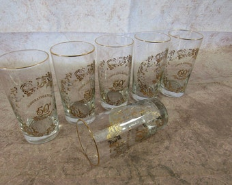 Vintage 50th Anniversary Gold Glassware Set of 6 Celebration Anniversary Gift Party