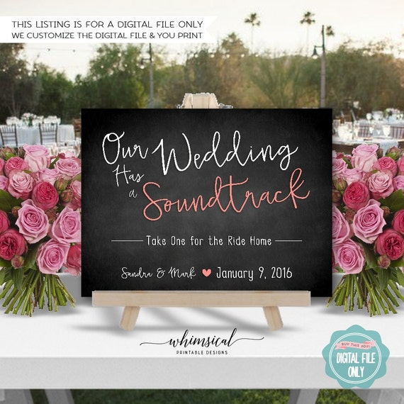 Wedding Soundtrack CD Sign Wedding Simple Words Chalk – Simple Listing Words