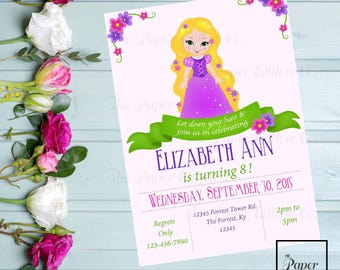 A Tangled Birthday Invitation-Rapunzel-Editable-INSTANT DOWNLOAD-Print Yourself-Editable Pdf-Tangled-Birthday-Party-Invite