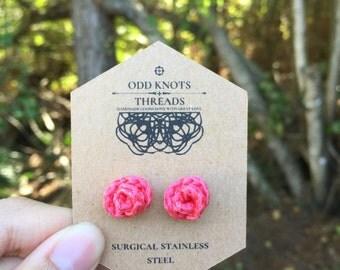 Rose Rosebud Flower Thread Earrings Studs// DAINTY EARRINGS