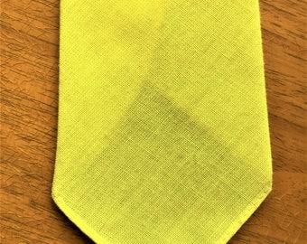 Vintage 50s Metcalf Cravats Solid Yellow Cotton Tie
