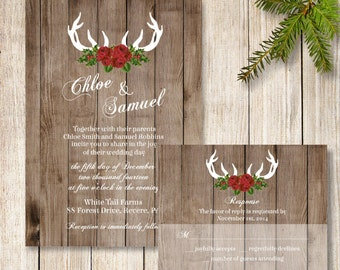 Winter Wedding Invitation, Rustic December Wedding Invitation, Deer Antler Wedding Invite, Christmas Wedding Invite, Holiday Wedding