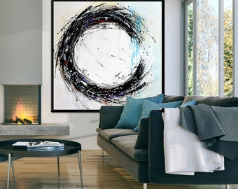 Large abstract painting, Black and white painting on canvas, hand painted minimalist modern art, large abstract wall art