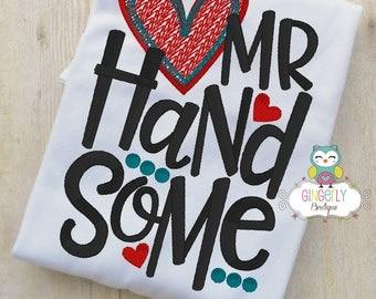 Mr Handsome Valentine Shirt or Bodysuit, Valentine Shirt, Valentines Day Shirt, Valentines Day Outfit, Boy Valentine