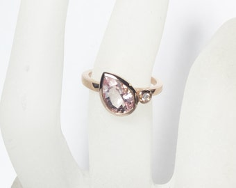 Morganite and Diamond 14K Gold, White, Yellow, or Rose Gold, Made to Order