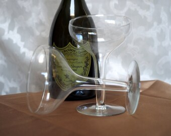 Pair of Vtg Hollow Stem Champagne / Coupe Toasting Glasses/Stemware- Bride & Groom / Engagement/ Anniversary Gift / New Year's Eve Cheer