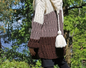 Instant Download PDF pattern. Hand knitted hooded tricolour cardigan. Digital pattern from Ilze Of Norway. (0143)