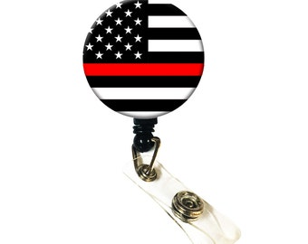 Firefighters Thin Red Line ID Badge Nurse Retractable Badge Reels/ ID Badge Holder