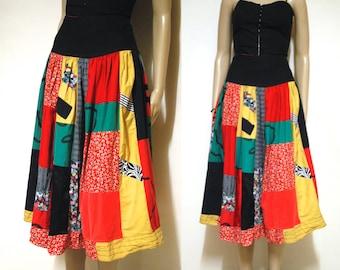 Vintage 80s Patchwork Skirt Retro Knee Length Floral Kitsch High Waist Vtg 1980s Size M