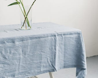 FREE SHIPPING | Washed linen dusty blue color tablecloth, Soft linen tablecloth, Rustic linen tablecloth, Natural linen tablecloth