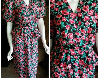 80's Maggy London 2 Piece Silk Suit Set, Silk Skirt Suit, Lighweight Silk Peplum Jacket & Skirt, Silk Pencil Skirt, Puffed Sleeve, SM/MD