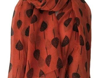 Orange Scarf with a Tree Print, Ladies Trees Wrap Shawl, sarong