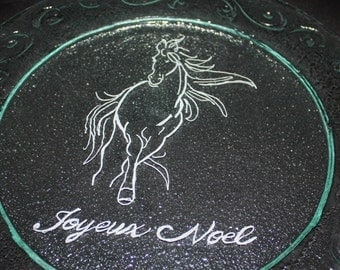 Decoration noel - Christmas decoration , Cheese plate - Candle holder - centre de table rond, table center round, Cheval, horse