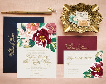 Boho Wedding Invites in Gold, Marsala and Blush