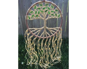 Tree of Life Wall Hanging on 10 Inch Hoop Macrame Wall Tapestry Hippie Wall Hanging Tree of Life Wall Art Tree of Life Decor Gift for Her