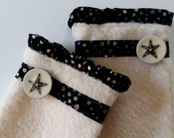 Unique Fingerless Gloves, Fingerless Mittens, Winter Gloves, Fleece Gloves, Wrist Warmers, Cream and Black Gloves w Starfish Buttons, Gift